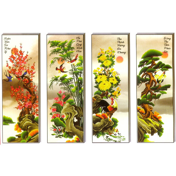 4 bức tranh Đào - Trúc - Cúc - Tùng biểu trưng cho 4 mùa trong năm