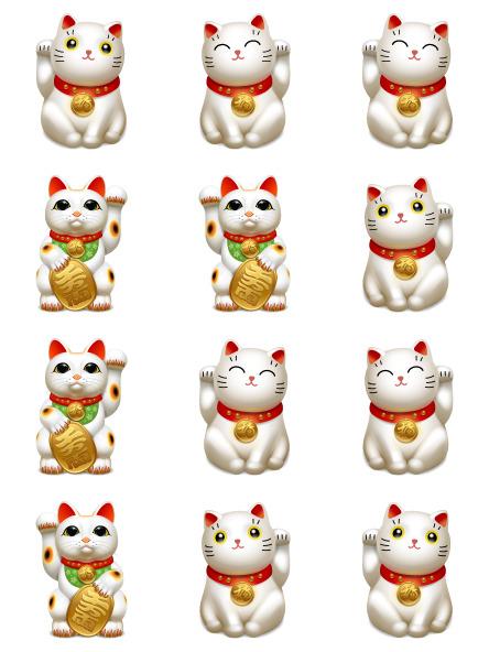 Bộ ba mèo đáng yêu trong bức hình mèo thần tài vector