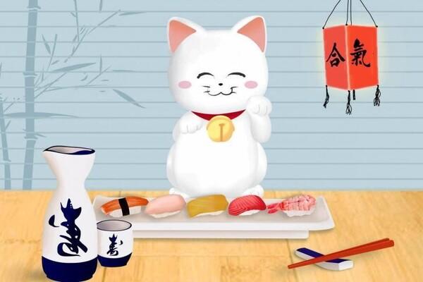 Bức ảnh Mèo Maneki Neko siêu dễ thương cùng dĩa thức ăn đặt trưng của Nhật.