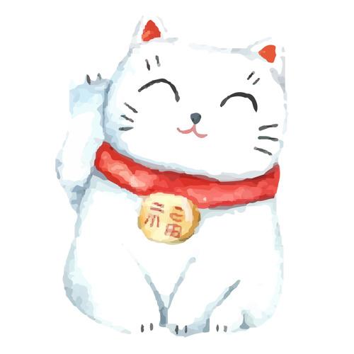 Bức ảnh mèo thần tài vector vẫy tay phải