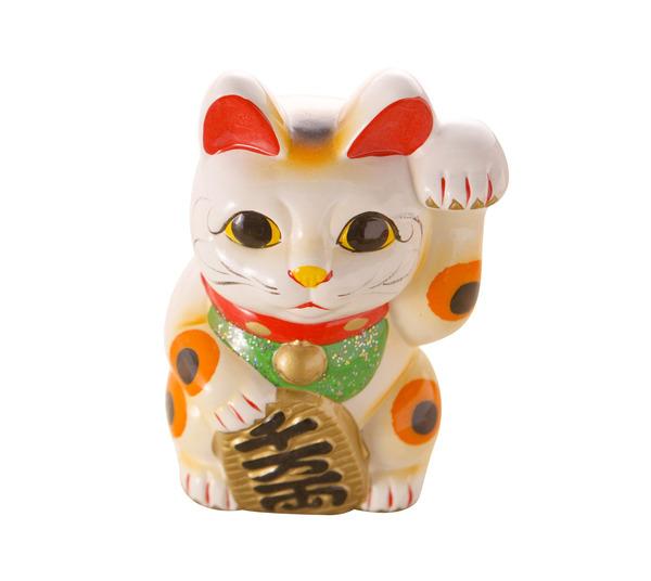 Các chú mèo Maneki Neko thường được vẽ các câu đối an lành lên bùng