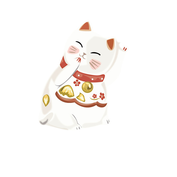 Bức ảnh mèo thần tài vector này có điểm nhấn ở gương mặt cười trên chiếc chuông