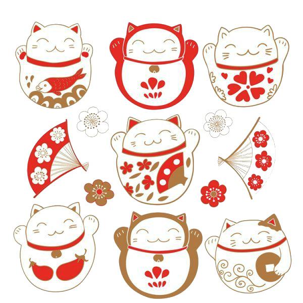 Chú mèo được tô vẽ với phong cách đặc biệt đặc trưng với văn hóa của người Nhật Bản