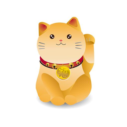 Chú mèo trắng đeo đồng tiền xu trước cổ với ý nghĩa về tài lộc