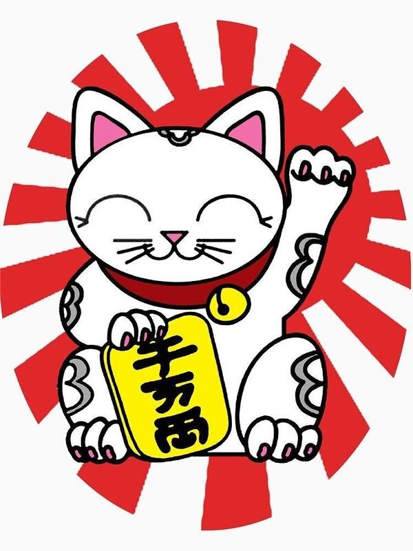 Hình mèo thần tài trắng trên nền đỏ