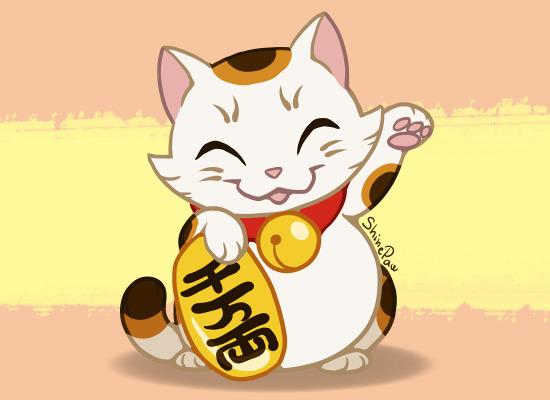 Hình nền chủ mèo thần tài tam thể cực dễ thương.