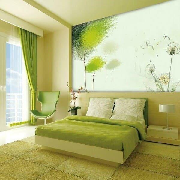 Màu xanh căng tràn nhựa sống giúp chủ nhân căn phòng trở nên thoải mái và thư thái hơn