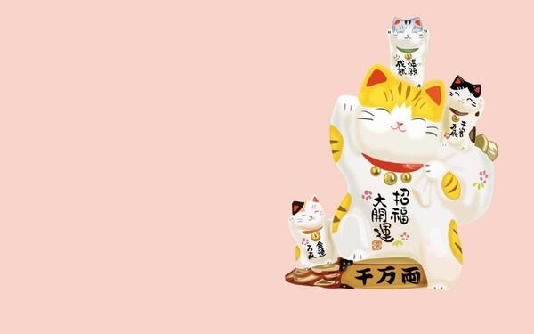 Những chú mèo có gương mặt dễ thương vẫy chân trên nền hồng phù hợp cho các bạn nữ ngọt ngào