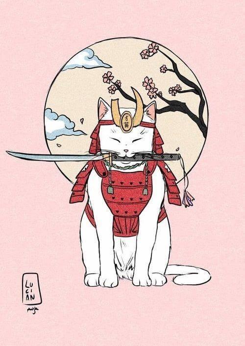 Mèo thần tài cute cách điệu hình tượng chiến binh nhưng bơi béo