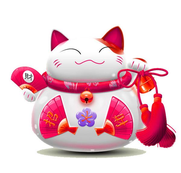 mèo thần tài vector này có hình ảnh chú mèo Maneki Neko có gương mặt tươi cười
