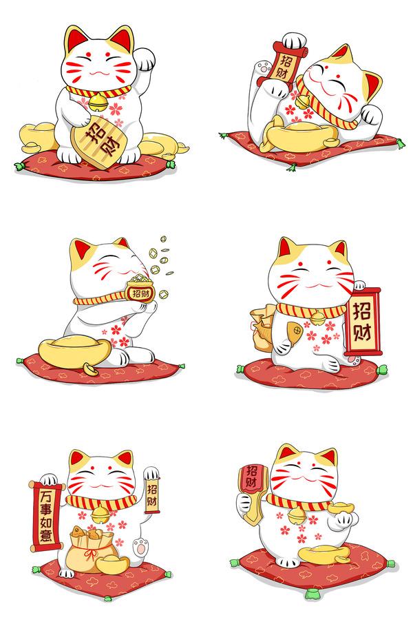 mèo thần tài vector làm ảnh nền điện thoại