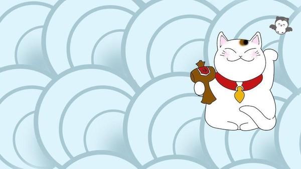 """Mèo thần tài wallpaper làm người xem cảm thấy """"mát mắt"""" với phông xanh nhẹ nhàng cùng chú mèo trắng tay cầm búa."""