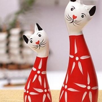 Đôi mèo gỗ đỏ trắng VT04