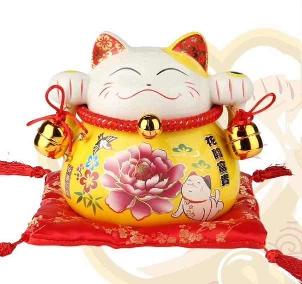 Mèo thần tài may mắn Hoa Mẫu Đơn 90176