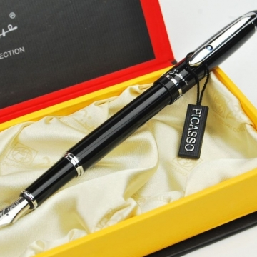 Bút Picasso máy 608F(B) màu đen, cài bạc đính đá
