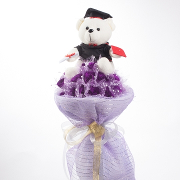 Hoa gấu bông mừng lễ tốt nghiệp (Gấu bông ôm hoa tím)