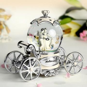 Hộp nhạc cô dâu chú rễ quả cầu thủy tinh pha lê 60341