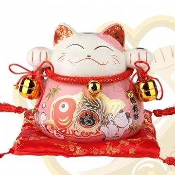 Mèo thần tài may mắn màu hồng tay đeo chuông 90170