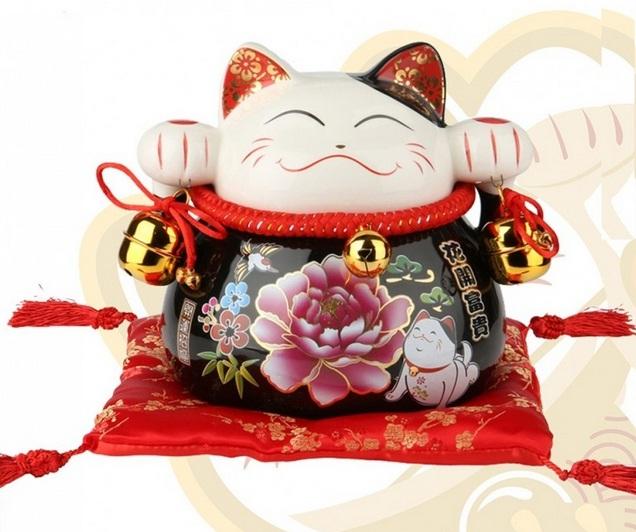 Mèo thần tài xã xui (Màu Đen) Hoa Mẫu Đơn 90168