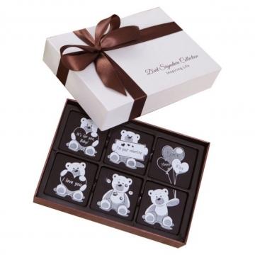 Socola valentine hình vuông hộp 6 viên socola nghệ thuật V16-S19