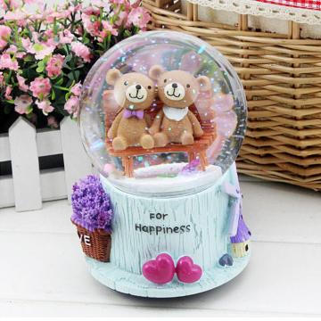 Hộp nhạc quả cầu tuyết cặp gấu For Happiness