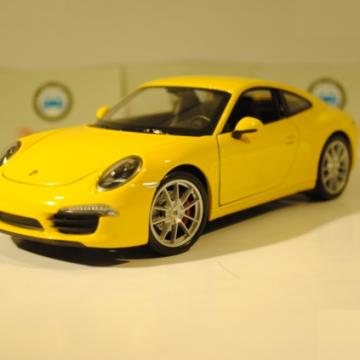 Ô tô mô hình Porsche 911 Carrena S màu vàng tỉ lệ 1:24