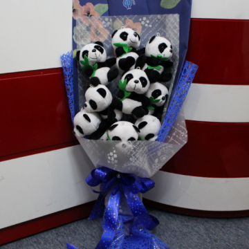 Hoa gấu bông gấu trúc panda cầm lá HGB006