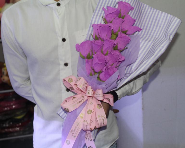 Hoa gấu bông giấy nhún bó hoa hồng HGB014