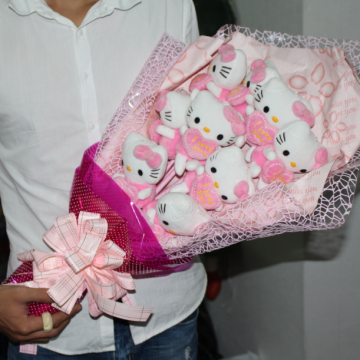 Hoa gấu bông Hello Kitty hồng HGB022