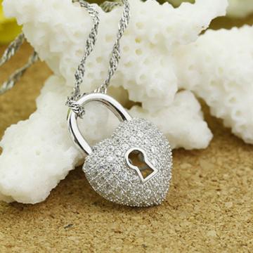 Dây chuyền bạc ổ khóa hình trái tim DC157